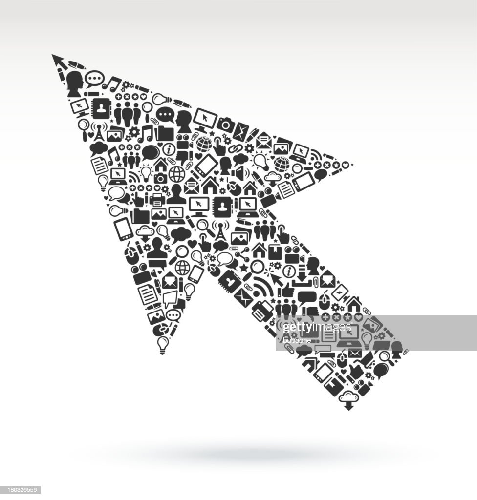 Computer Arrow With Internet Technology Icons Vector Art | Getty ...
