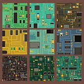 Computer chip technology processor circuit and motherboard information system vector illustration. Electronic board energy microprocessor pattern electricity line connect graphic.