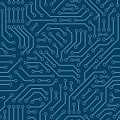 Computer circuit board. Seamless pattern. Vector illustration