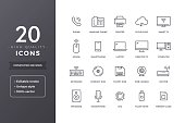 Computer electronic devices line icons. Vector office PC accessories and hardware icon set with editable stroke