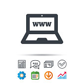 Computer icon. Notebook or laptop pc symbol. Statistics chart, chat speech bubble and contacts signs. Check web icon. Vector