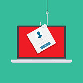 Computer internet security concept. Internet phishing, hacked login and password. Vector illustration