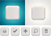 Detailed icon representing white computer keyboard