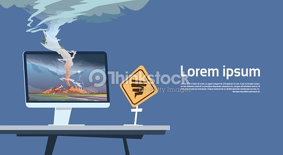 Computer Monitor With Tornado Imade And Hurricane Warning Road Sign Landscape Of Storm Waterspout In Countryside Natural Disaster Concept