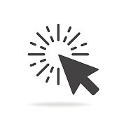 Computer mouse click cursor gray arrow icon. Vector illustration.