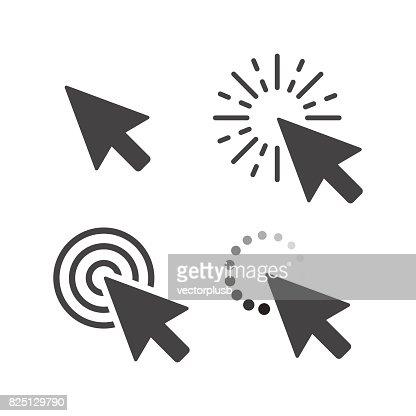 Computer mouse click cursor gray arrow icons set. Vector illustration : stock vector