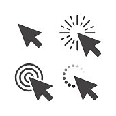 Computer mouse click cursor gray arrow icons set. Vector illustration.
