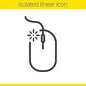Computer mouse click linear icon. Thin line. Vector