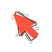 Computer mouse cursor icon in comic style. Arrow cursor vector cartoon illustration pictogram. Mouse aim business concept splash effect.