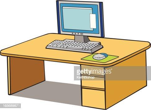 Computer On Desk Cartoon Vector Art | Getty Images