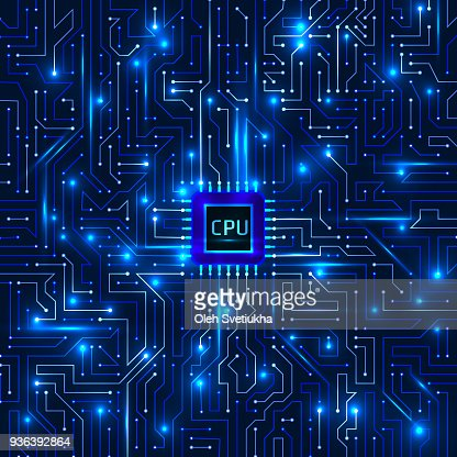 Computer processor and motherboard system chip. CPU chip electronic circuit board with processor vector illustration : stock vector