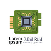 computer processor microchip with microcircuits CPU isolated flat copy space vector illustration