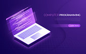 Computer programming, coding, testing, debugging, software development isometric concept Vector illustration