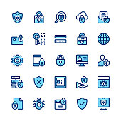 Computer protection, internet security, privacy line icons set. Modern graphic design concepts, simple symbols, linear stroke web elements, pictograms collection. Minimal thin line design. Premium qua