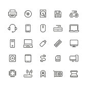 Computer related icons: thin vector icon set, black and white kit