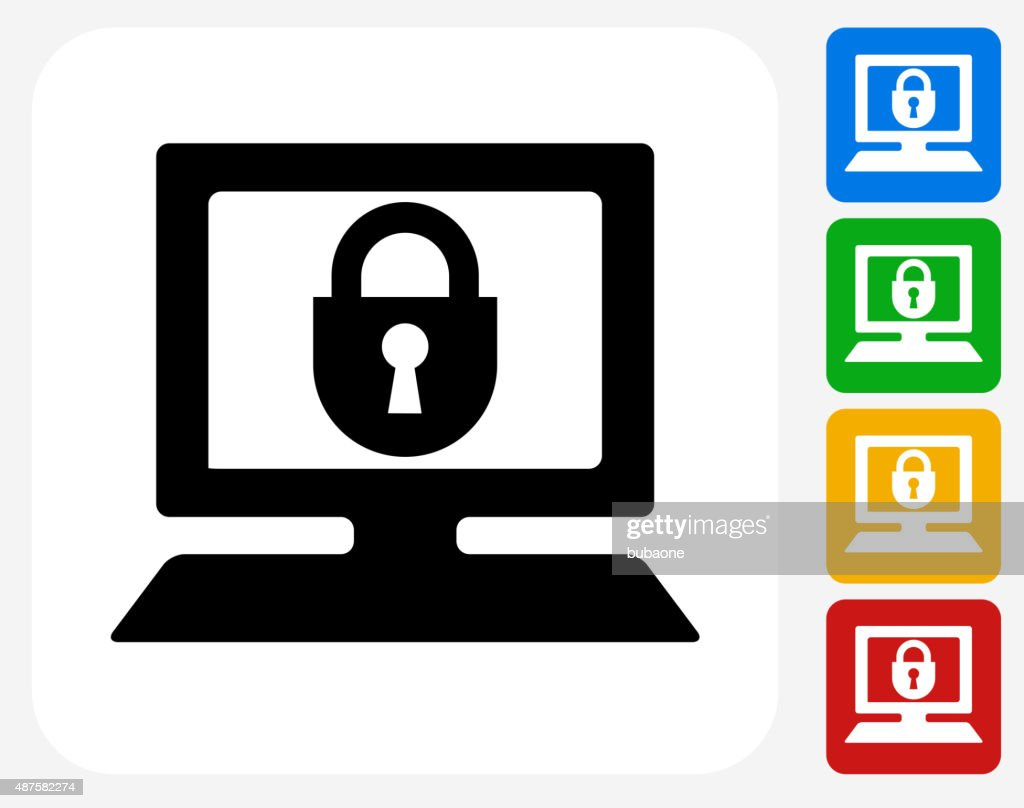 Computer Security Icon Flat Graphic Design Vector Art ...