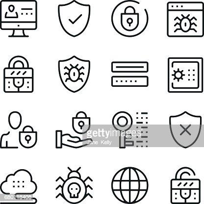 Computer security line icons set. Modern graphic design concepts, simple outline elements collection. Vector line icons : stock vector