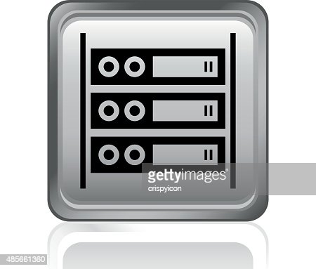 Computer Server Icon On A Square Button Vector Art   Getty