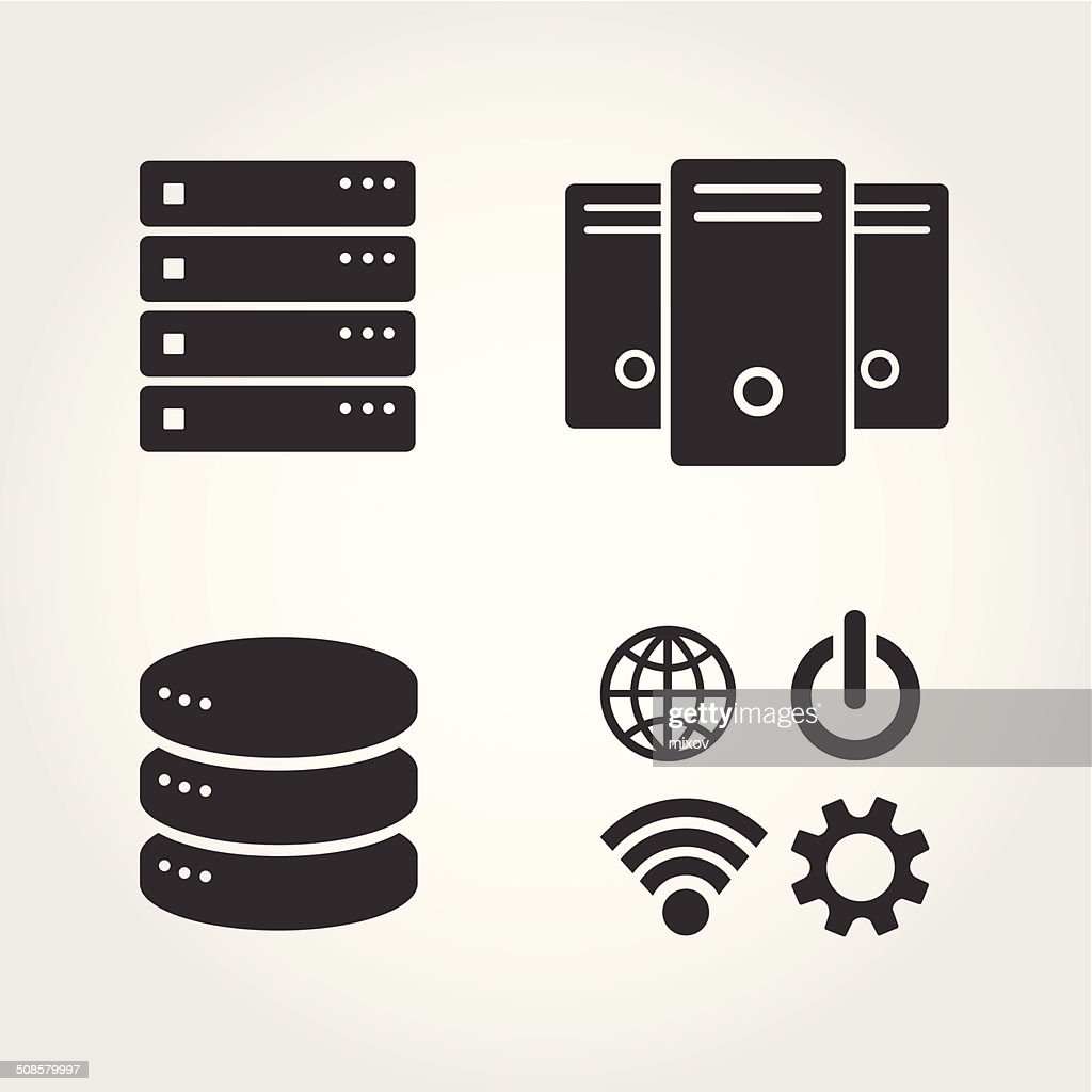 Computer Server icons set, flat design : Vector Art