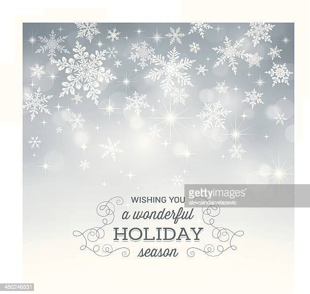 Computer-generated snowflake holiday background