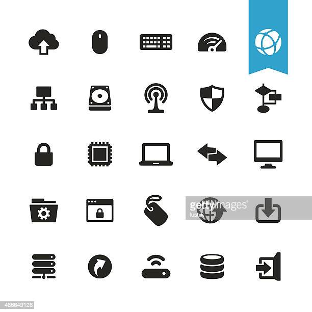 Vecteur d'icônes ordinateur et réseau
