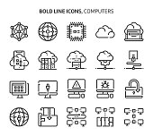 Computers and networking, bold line icons. The illustrations are a vector, editable stroke, 48x48 pixel perfect files. Crafted with precision and eye for quality.