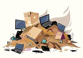 Computers waste pile