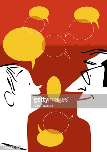 Comunicacin Dialogar discutir charlar educar pensar  Vector Art