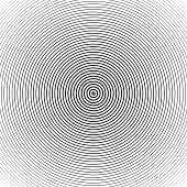 Concentric circle elements. Sound wave wallpaper. Black and white abstract rounds texture, pattern. Hypnotic spiral background. Vector illustration EPS 10.