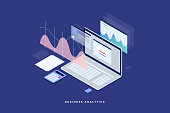 Financial review with laptop and infographic elements. 3d isometric flat design. Vector illustration.