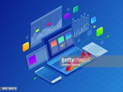 Concept business strategy. Illustration of data financial graphs or diagrams, information data statistic. Laptop and infographics isometric vector illustration on ultraviolet background : stock vector