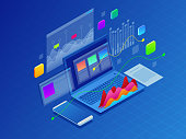 Concept business strategy. Illustration of data financial graphs or diagrams, information data statistic. Laptop and infographics isometric vector illustration on ultraviolet background.