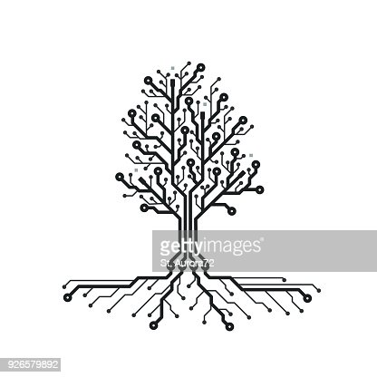 Concept circuit board tree. Futuristic background with tech tree. PCB. Black and white texture. Vector illustration. : stock vector