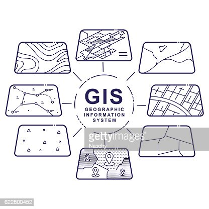 GIS Concept Data Layers for Infographic : stock vector