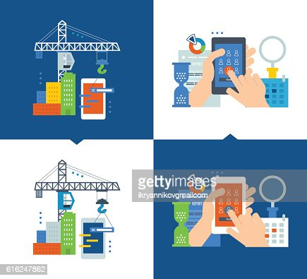 Concept - development of applications and software, marketing  market research : Vector Art
