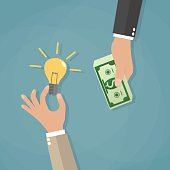 cartoon concept for crowdfunding, businessman hand with light bulb and with money. vector illustration in flat design on blue background