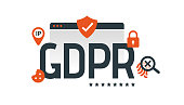 General Data Protection Regulation. Digital and internet symbols in front of DSGVO letters. GDPR, RGPD. Concept vector illustration. Flat style. Horizontal