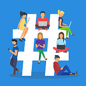 Concept illustration of young people using mobile tablet and smartphone for sending posts and sharing them in social media. Symbol with guys and women follow the trend
