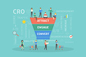 CRO concept illustration. Conversion rate optimization business infographics.