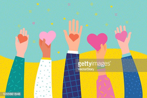 Concepto de caridad y donación. Dar y compartir su amor a las personas. : arte vectorial
