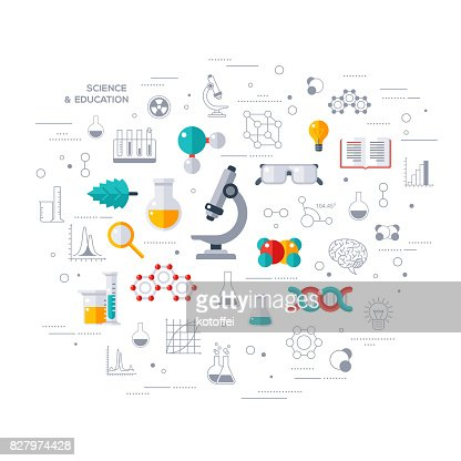 Concept of education and science with microscope : stock vector