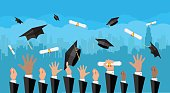 Hands of graduates throwing graduation hats and diplomas in the air. Concept of education. College or university ceremony. Cityscape urban panorama. Vector illustration in flat style