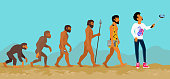 Concept of human evolution from ape to man. Development progress, primate growth, ancestor and mankind, caveman and neanderthal, mammal generation illustration. Man doing selfie with monopod