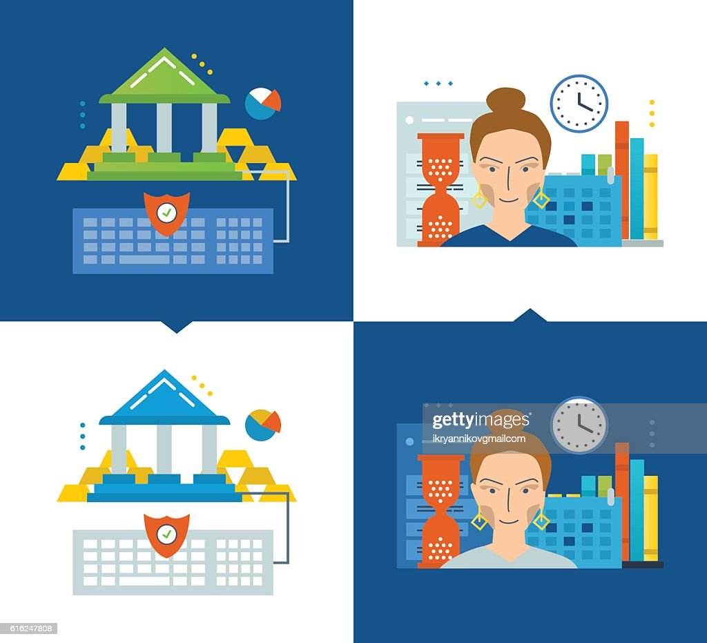 Concept of illustration - online banking, modern education, schedule and : Vector Art