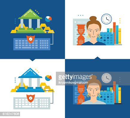 Concept of illustration - online banking, modern education, schedule and : Arte vettoriale
