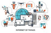 Modern flat line design vector illustration, concept of internet of things, for graphic and web design