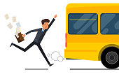 Concept of lateness. Business man in suit is running after outgoing bus. Flat design, vector illustration.