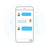 Man and woman chatting and messaging each other on smartphone screen. Hand drawn style, vector illustration.