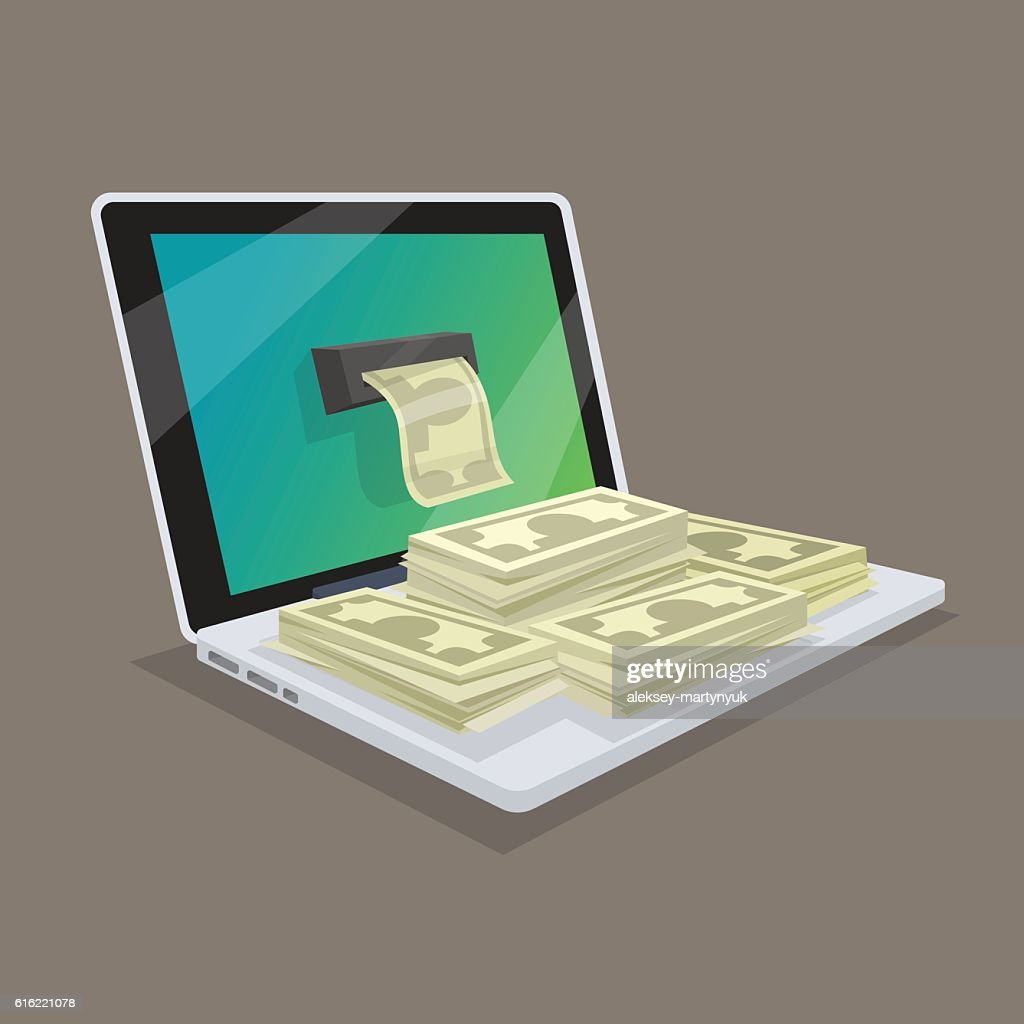 Concept of online earnings or income in the network. : Vector Art