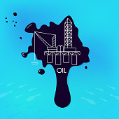 Concept of pollution of the environment, sea, ocean, fish and animals by the oil industry. A drop of petrol production in clean water. Petroleum fuel industry extraction, vector illustration.